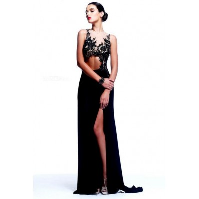 Unique Sexy Sheath Illusion Neckline Long Black Chiffon Lace Evening Prom Dress Cut Out