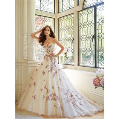 Unusual Ball Gown Sweetheart Spaghetti Strap Tulle Applique Beaded Wedding Dress With Color