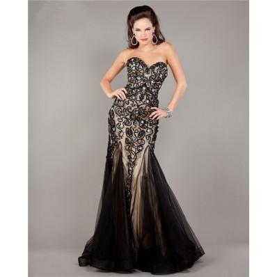Unusual Mermaid Strapless Black Tulle Beaded Evening Prom Dress