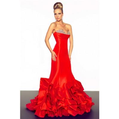 Unusual Mermaid Sweetheart Long Red Layered Taffeta Beaded Occasion Evening Prom Dress