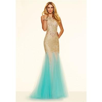 Unusual Slim Mermaid Backless Gold Lace Aqua Tulle Prom Dress