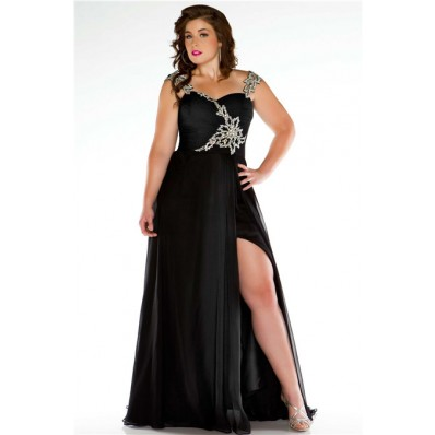 Unusual Straps Long Black Chiffon Beading Plus Size Evening Prom Dress With Slit