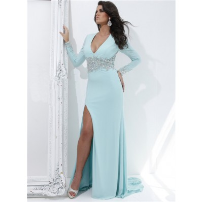 V Neck Long Sleeve Sheer See Through Back Baby Blue Chiffon Beaded Evening Prom Dress