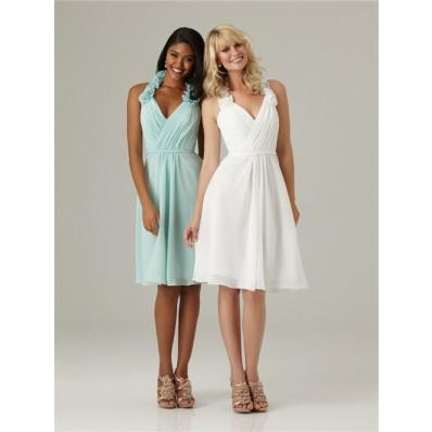 A line halter knee length short white chiffon bridesmaid dress with belt flowers