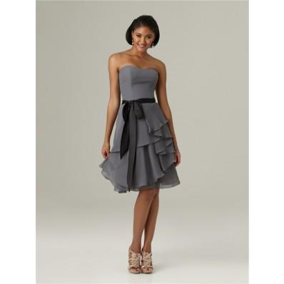 A line sweetheart short charcoal grey chiffon ruffle bridesmaid dress with black sash