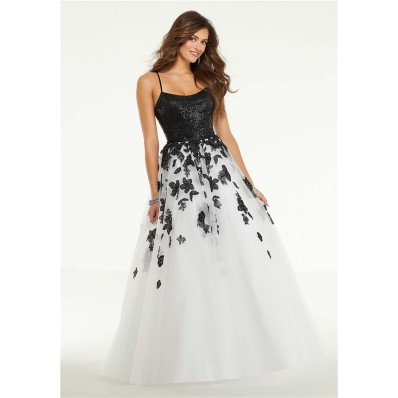 A Line Long Black And White Tulle Flower Prom Dress With Spaghetti Straps