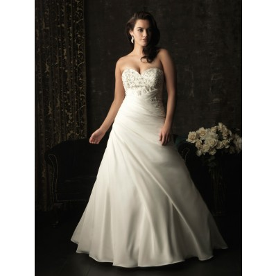 A line sweetheart sweep train corset back taffeta plus size wedding dress with beading