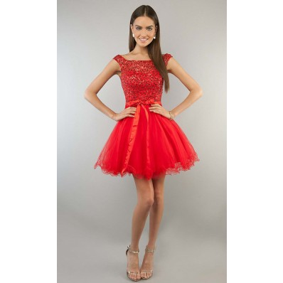 Ball Gown Strapless Sweetheart Short Mini Red Tulle Lace Beaded Cocktail Prom Dress Keyhole Back