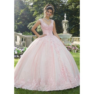 Ball Gown Prom Dress Light Pink Tulle Lace Wedding Dress V Neck