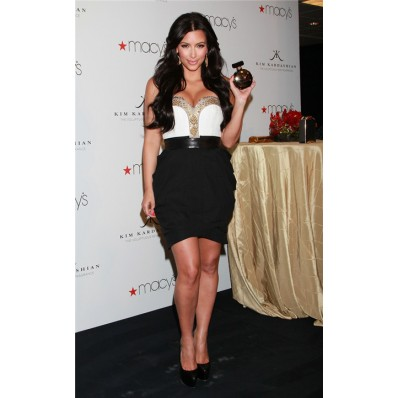 Elegant Sweetheart Short/ Mini White Black Kim Kardashian Dress