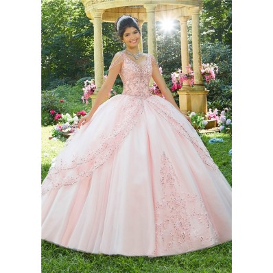 Fantastic Ball Gown Prom Dress Light Pink Tulle Lace Beaded Quinceanera Dress V Neck