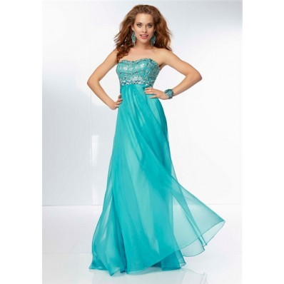 Flowing Sweetheart Neckline Long Turquoise Chiffon Beaded Prom Dress Cut Out Back