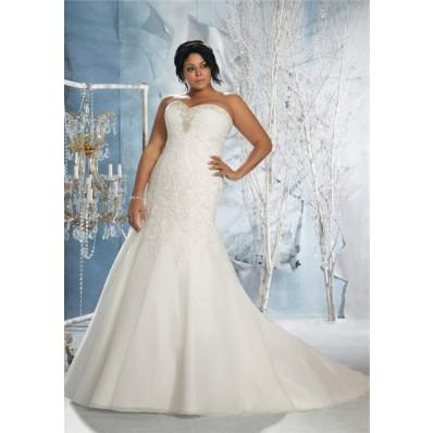 Mermaid Sweetheart Empire Waist Corset Lace Organza Plus Size Wedding Dress With Beading