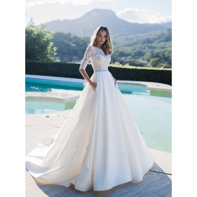 Modest A Line Wedding Dress Satin Lace Sleeves With Pockets