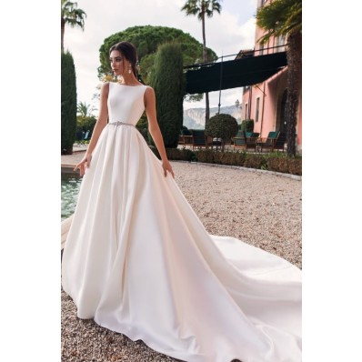 Royal Simple Satin Wedding Dress High Neck With Long Train Crystals Sash