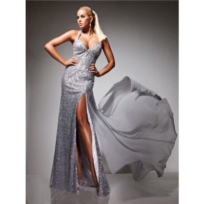 Sexy Backless High Slit Straps Long Silver Sequins Prom Dress With Detachable Train
