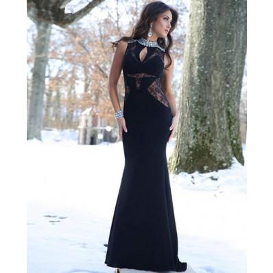 Slim High Neck Keyhole Illusion Sheer Panels Long Black Chiffon Lace Evening Prom Dress