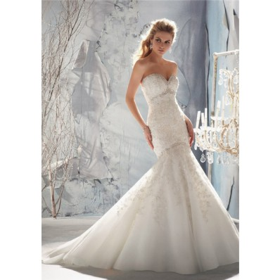 Stunning Fit And Flare Mermaid Sweetheart Lace Beaded Wedding Dress With Buttons