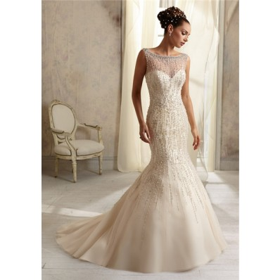 Mermaid Sheer Illusion Neckline See Through Tulle Beaded Wedding Dress With Pearls