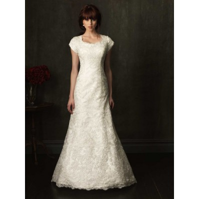Trumpet Cap Sleeve Ivory Lace Modest Wedding Dress With Buttons
