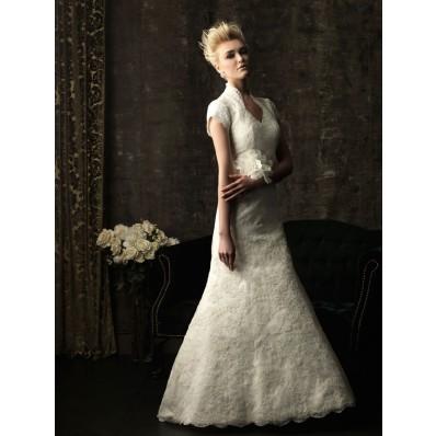 Trumpet Mermaid full back short sleeve lace modest wedding dress with flower