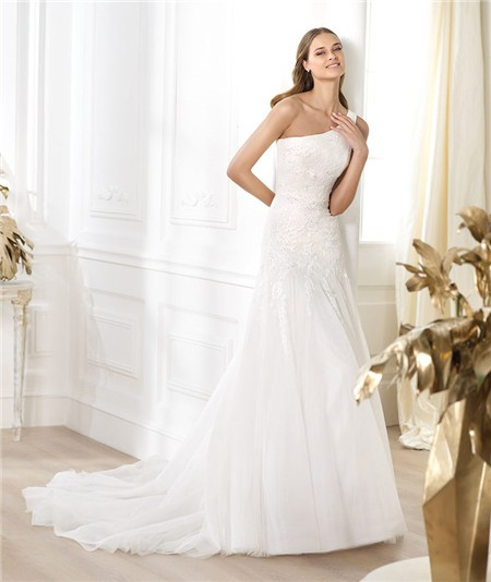 Asymmetrical Wedding Gown: A Line Asymmetrical One Shoulder Draped Tulle Lace Beaded
