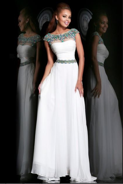 A Line Bateau Neck Cap Sleeve Long White Chiffon Beaded