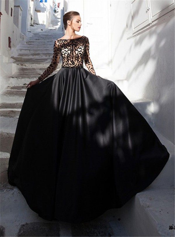 A Line Bateau Neckline Long Sleeve Black Satin Tulle
