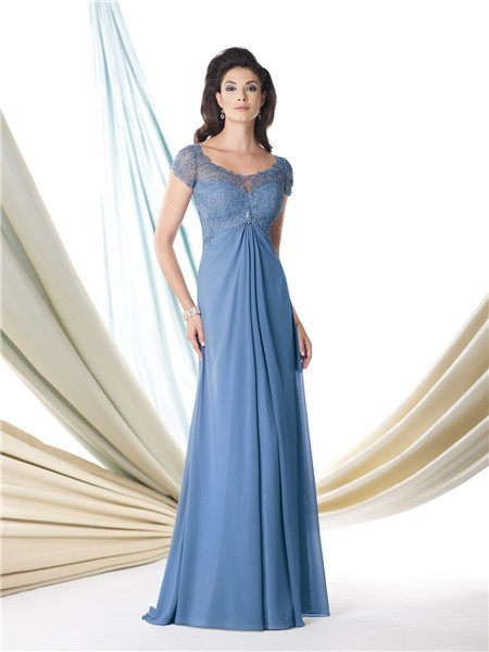 A Line Cap Sleeve Empire Waist Blue Chiffon Lace Mother Of