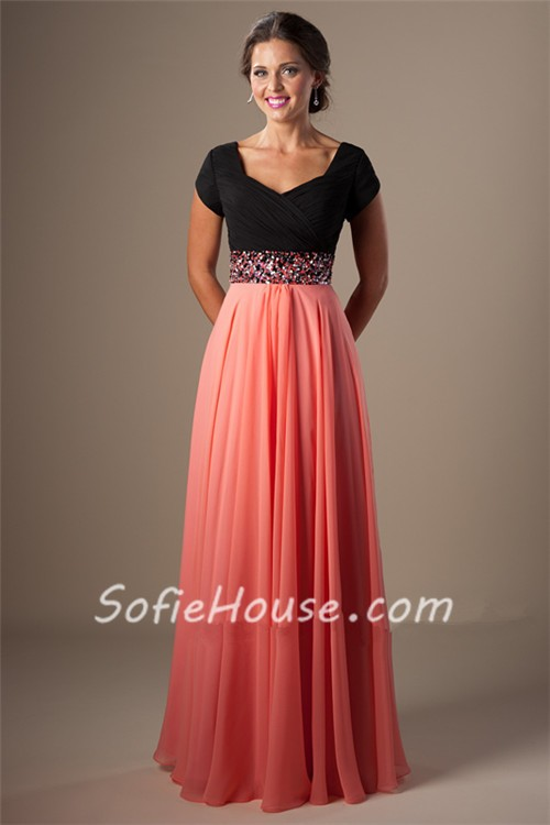 A Line Cap Sleeve Long Black And Coral Chiffon Evening