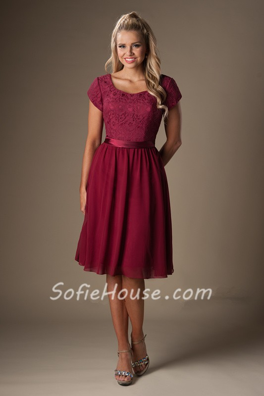 A Line Cap Sleeves Burgundy Chiffon Lace Short Bridesmaid