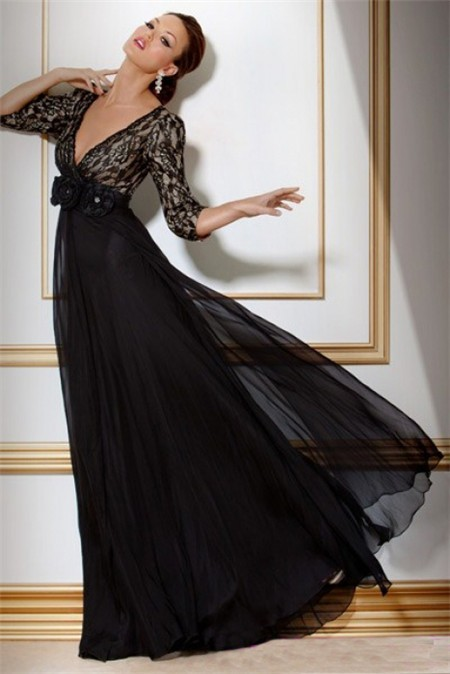 A Line Deep V Neck Empire Waist Long Black Chiffon Lace