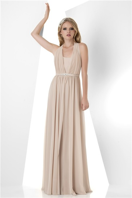 A Line Halter Long Champagne Chiffon Formal Occasion Bridesmaid Dress Beaded Belt