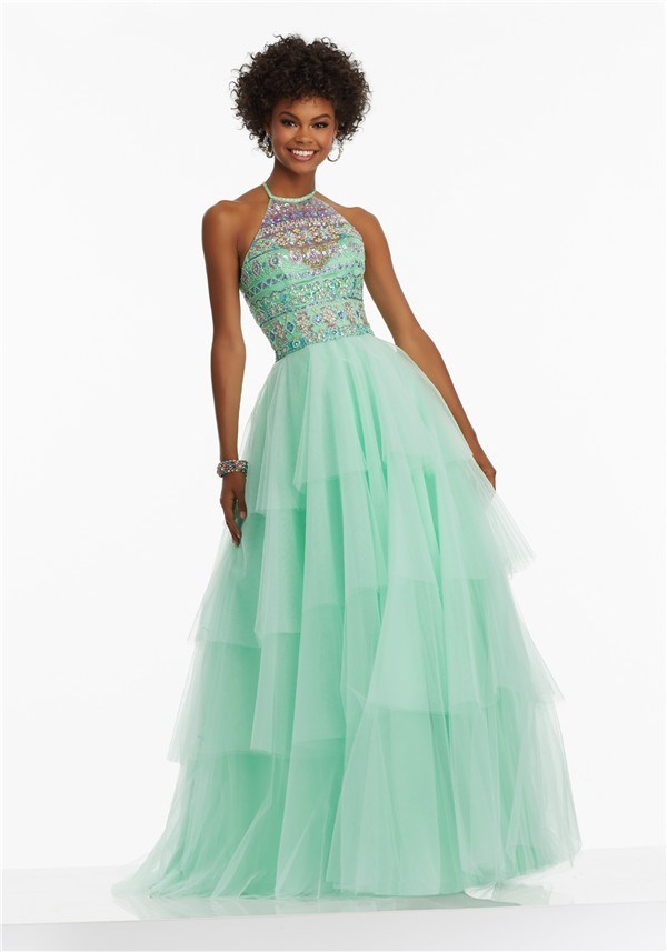 A Line Halter Long Mint Green Tulle Tiered Prom Dress With
