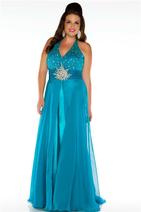 A Line Halter Long Teal Chiffon Beaded Plus Size Party