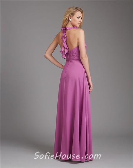 A Line Halter V Neck Long Purple Chiffon Wedding Guest Bridesmaid Dress With Ruffle