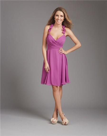 A Line Halter V Neck Short Purple Chiffon Ruched Wedding Guest Bridesmaid Dress