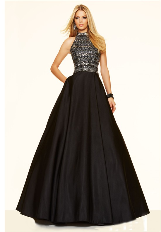 A Line High Neck Open Back Long Black Satin Beaded
