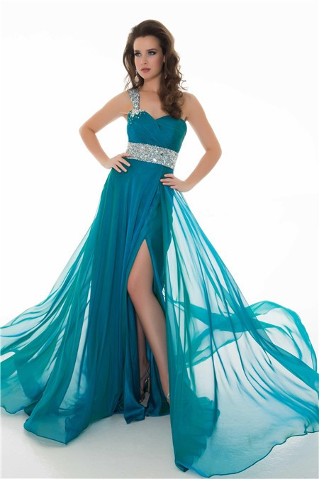 A Line One Shoulder Long Peacock Blue Chiffon Beading