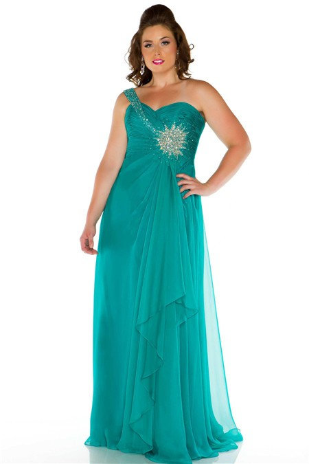A Line One Shoulder Long Turquoise Chiffon Beaded Plus