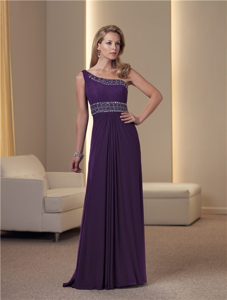 A Line One Shoulder Purple Chiffon Beaded Mother Of The