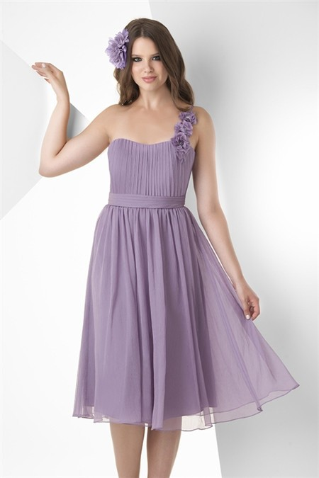 A Line One Shoulder Strap Short Lilac Chiffon Ruched Party
