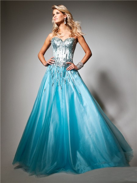 A Line Princess Sweetheart Long Blue Tulle Sequins Sparkle