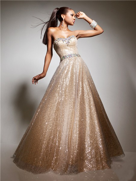 A Line Princess Sweetheart Long Champagne Nude Sequin Prom