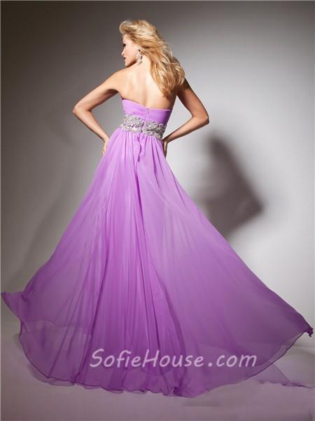 A Line Princess Sweetheart Long Purple Lilac Flowy Chiffon