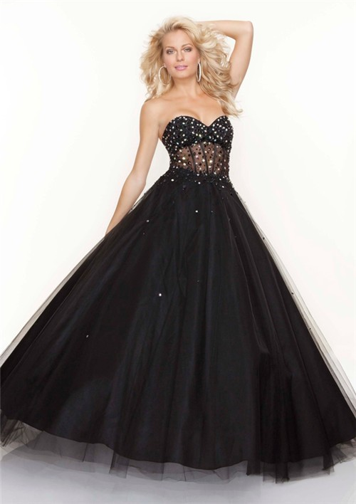 A Line Princess Sweetheart See Through Black Tulle Prom