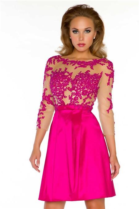 A Line Short Hot Pink Taffeta Lace Sheer Illusion