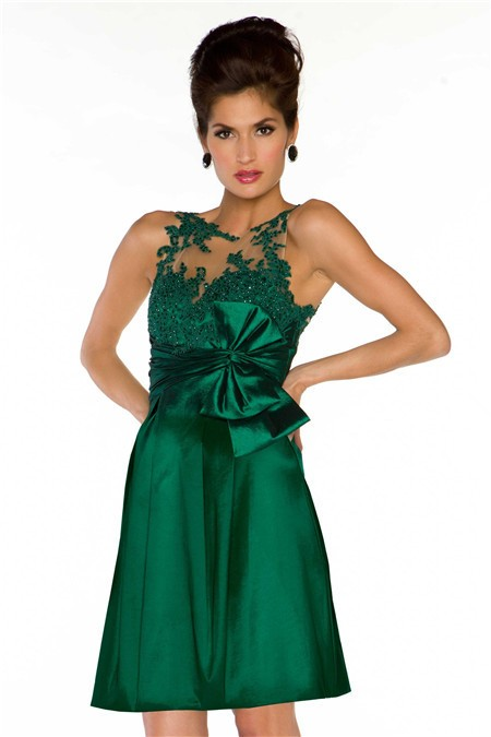 A Line Sleeveless Short Emerald Green Lace Illusion