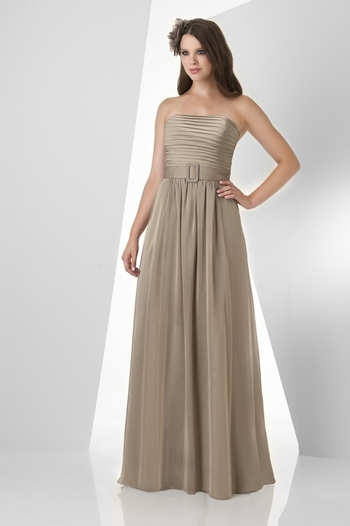 A Line Strapless Long Brown Chiffon Ruched Formal Occasion
