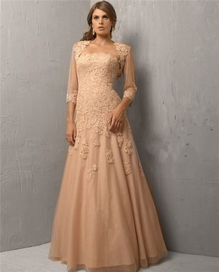 A Line Strapless Long Champagne Tulle Lace Evening Dress